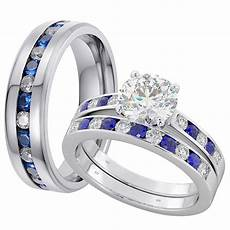 his and hers matching blue sapphire wedding couple rings