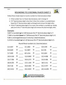 decimal places worksheets 15970 rounding numbers to 2 decimal places sheet 1 rounding numbers rounding worksheets third