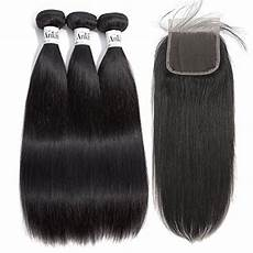 Amazon Com 3 Part Lace Closure Straight With Anknia Brazilian Virgin Hair Straight 3 Bundles With