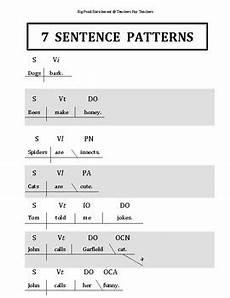sentence patterns worksheets with answer key pdf 282 7 sentence patterns chart by big pond enrichment tpt