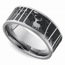 laser carved mountain themed men s wedding ring in titanium