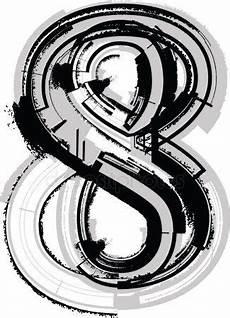 Virina Malvorlagen Font Grunge Font Nummer 8 Stockvektor Grunge Vektorgrafik