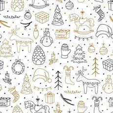 merry christmas doodle seamless pattern vector premium download