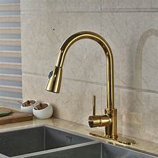 columbine gold finish kitchen sink faucet with pull out