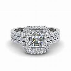 asscher cut square halo diamond engagement ring guard in
