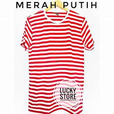 kaos stripe merah putih stripe white kaos stripe hitam putih bandung shopee indonesia