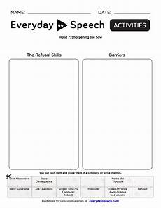 sharpen the saw worksheet habit 7 sharpening the saw everyday speech everyday speech
