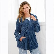 robe de chambre polaire ceinture poches femme bleu 3