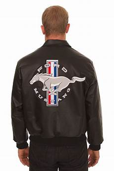 ford mustang embroidered leather bomber jacket black j