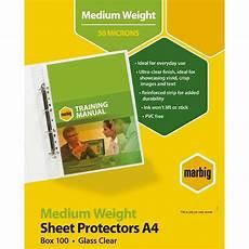 marbig deluxe silver sheet protector a4 medium weight 100 ebay