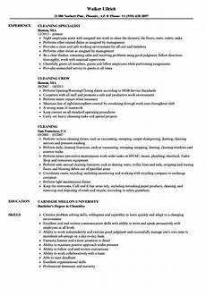 resume sles for cleaning resume sle