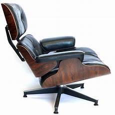 original 1970 black leather eames 670 lounge chair and 671