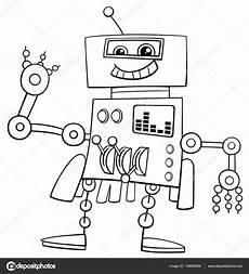 Lustige Comic Ausmalbilder Lustige Roboter Ausmalbilder Stockvektor 139083684