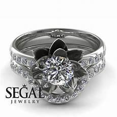 lotus flower bridal engagement ring 14k white gold 0