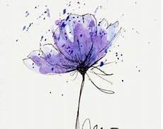 Malvorlagen Aquarell Stifte Mohn Blume Blau Original Aquarell Malerei Stift Und Tinte