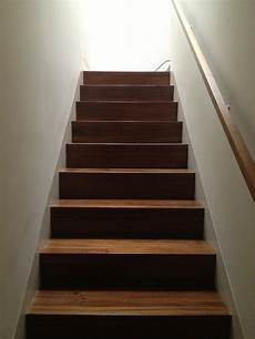 walnut stair to the studs