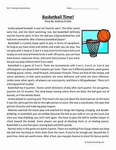 reading comprehension worksheet basketball time
