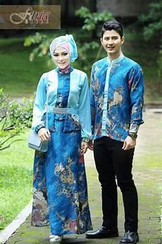 Baju Muslim Cauple Batik Silk kamajaya kamaratih blue baju muslim gamis modern