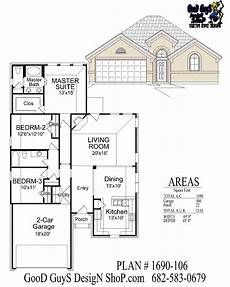 wide frontage house plans plan 1690sqft 106 40 0 quot wide 65 0 quot deep one story plan 3