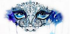 watercolor art illustration painting portrait paint blue purple mask masquerade by elise