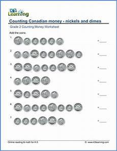 adding canadian money worksheets grade 2 2619 grade 2 counting money worksheet canadian nickels and dimes k5 learning