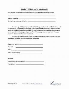 manual receipt template receipt of employee handbook employee handbook
