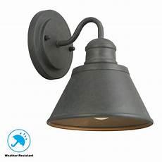 hton bay 1 light zinc outdoor wall lantern hsp1691a the home depot