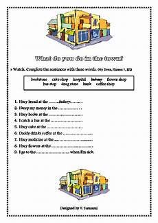 places in town writing worksheets 16040 worksheet places town phrases