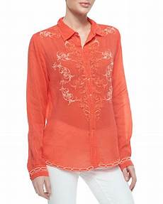 johnny was collection taj embroidered sleeve blouse