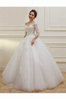 3 4 length sleeves v neck lace wedding dresses bridal gowns 3030108