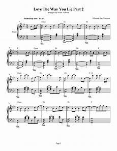 love the way you lie part 2 piano sheet love the way you lie part 2 rihanna feat eminem piano plateau sheet music