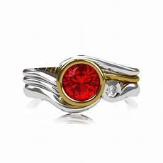 handmade 18ct gold ruby diamond engagement wedding rings