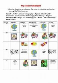 my school timetable esl worksheet by rosaria13