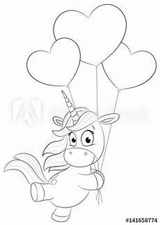 Einhorn Comic Ausmalbild Quot Niedliches Einhorn Mit Herzballons Vektor Illustration