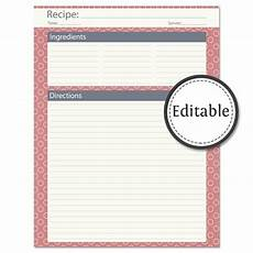 card templates for pages recipe card page fillable instant