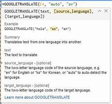 using translate in your spreadsheets