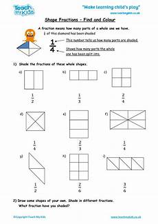 fraction worksheets shaded unshaded 4095 shape fractions find and colour tmk education