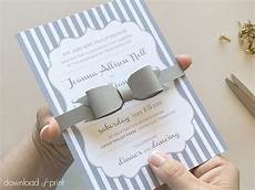 diy bow tie belly band wedding invitations
