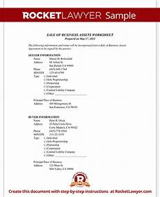 sale of business assets worksheet prepare to sell or buy a business