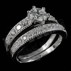 925 sterling silver 18k white gold 2 piece band wedding