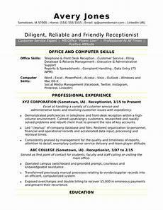 receptionist resume sle monster com