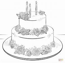 Malvorlagen Cake Birthday Cake With Roses Coloring Page Free Printable