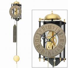 neu ams wanduhr pendel mechanisch gold schwarz metall