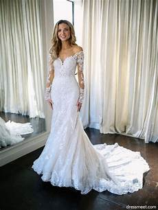 187 mermaid sweetheart long sleeve lace white wedding dresses with court train wd0725001 in 2019