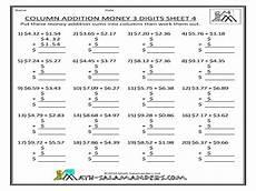 money addition worksheets for grade 3 2062 column addition money 3 digits worksheet for 4th 5th grade lesson planet