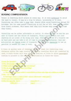 transport comprehension worksheets 15178 reading comprehension transportation esl worksheet by et afrah