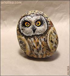 Painted Rocks Birds Owl