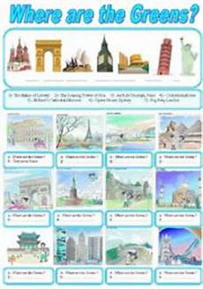 places to visit worksheets 16035 around the world wher are the greens esl worksheet by sruggy