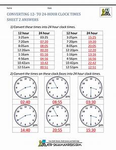 time worksheets 12 hour 24 hour 24 hour clock conversion worksheets