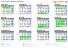 Kalender 2018 Ferien Nordrhein Westfalen Feiertage